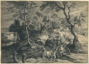 NPG D23010,Landscape with a waggon,by; after; after William Faithorne; Schelte Adams Bolswert; Sir Peter Paul Rubens