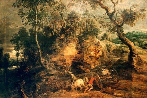 P.P.Rubens/ Das festgefahrene Fuhrwerk - P.P.Rubens/ Landscape w.Stone Carriers - P.P.Rubens / Le char embourbé